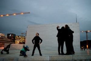 People on the House Roof in Oslo